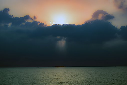 Storm, Clouds, Threatening, Sea, Sky, Horizon, Light