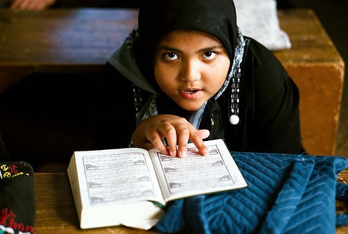 Girl, School, Quran, Koran, Islam, Reading, Education