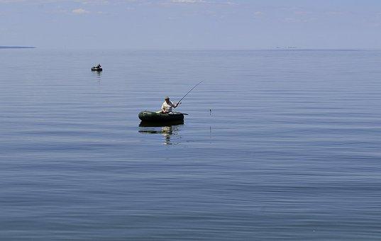 Fisherman, Boat, Sea, Water, Fishing, Lake, Fish