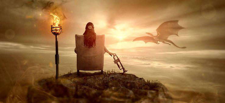 Fantasy, Dragon, Girl, Sit, Light, Mystical