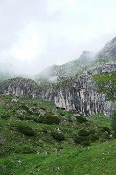 Alps, Clouds, Fog, Landscape, Nature, Mountains, Meadow