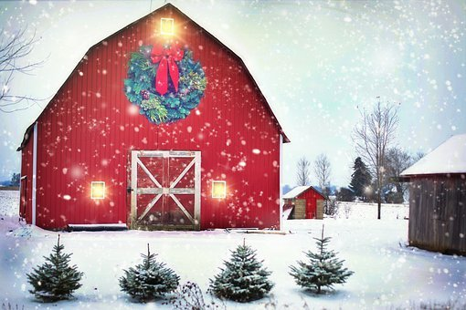 Barn, Red, Christmas, Wreath, Farm, Rural, Landscape