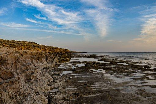 Rocky Coast, Beach, Sea, Water, Nature, Sky, Clouds