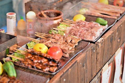 Stalls, Grilled Chicken, Meat, Yakiniku, Street Food