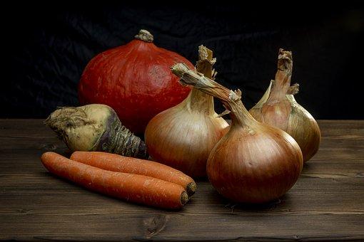 Onion, Carrots, Pumpkin, Swede Rutabaga, Vegetables