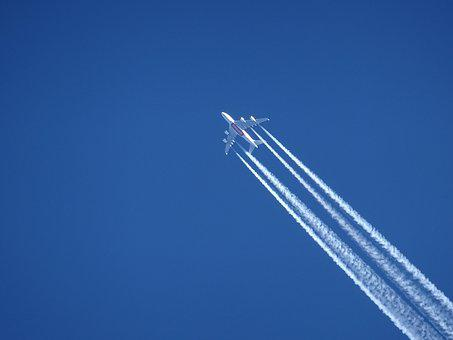 Aircraft, Contrail, Sky, Blue, Emirates, Airline, Clear