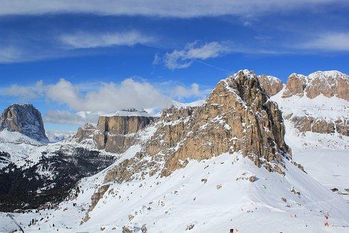 Overview, Canazei, Ski, Italy, Mountains, Snow