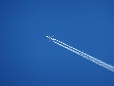 Aircraft, Contrail, Sky, Chem-trails, Blue, Environment