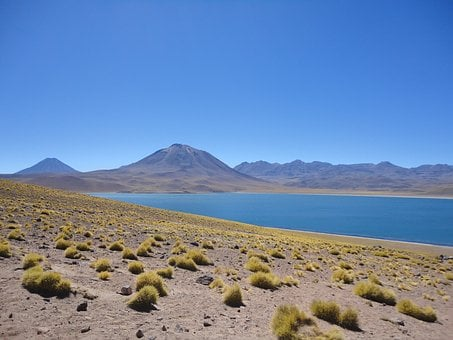 Chile, Desert, Steppe, Lake, Partly Cloudy, Blue
