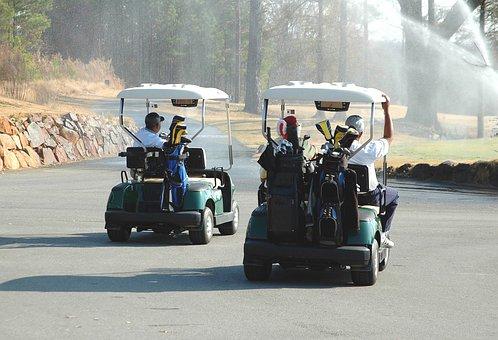 Golf Carts, Golf, Course, Green, Sport, Game, Grass