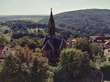 Heidelberg, Dilsberg, Church, Sun, Landscape, Nature