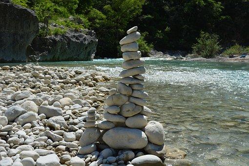 Esteron, Water, France, Roller, Stones, Balance