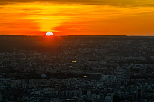 Sunset, Paris, City, France, View, Evening, Overview
