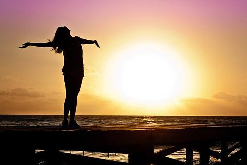 Woman, Girl, Freedom, Happy, Sun, Silhouette, Sunrise
