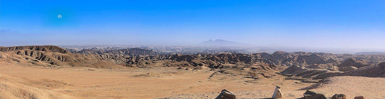 Panorama, Africa, Namibia, Desert, Lunar Landscape