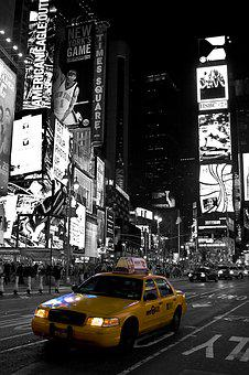 New York, Time Square, Black White, Yellow Cab, Travel