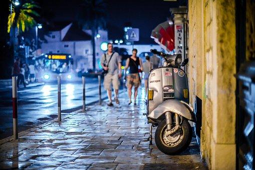Vespa, Street, Night, City, Architecture, Dubrovnik