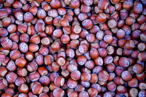Hazelnuts, Nuts, Market, Brown, Nut, Nutshells