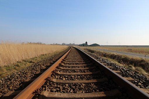 Rails, Railway, Sky, Wide, Empty, Blue, Railway Rails