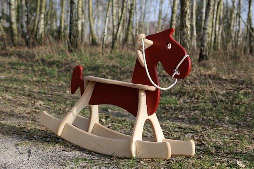 Red, Meadow, Toy, Ride On, Konik, Donkey, Wood