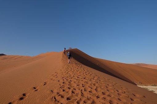 Namibia, Sossusvlei, Desert, Sand, Human, Hiking