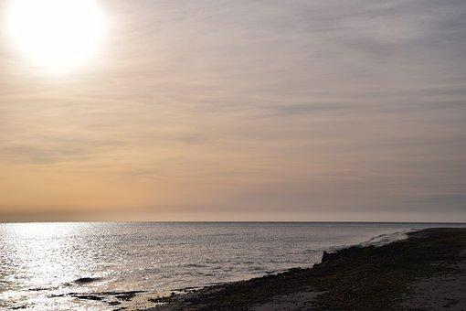 Sunset, Sea, Sunset Sea, Beach, Distant, Mood, Clouds