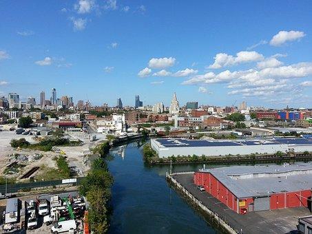 Background, Sky, Building, Skyline, Day, River, Usa