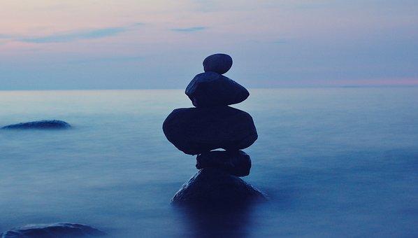 Balance, Stones, Ladoga, Evening, Summer, Russia, Lake