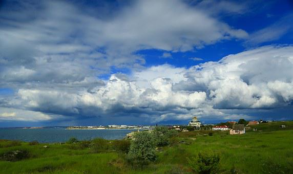Sea, Black Sea, Crimea, Clouds, Summer, Stone, City