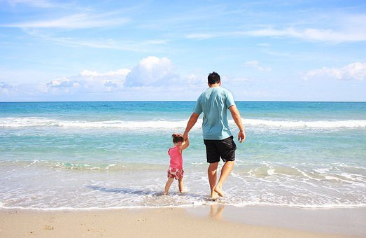 Father, Daughter, Beach, Sea, Family, Daddy, Sunny