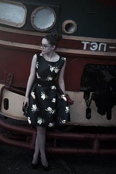 Girl At The Station, Train, Pin Up Girl, Beautiful