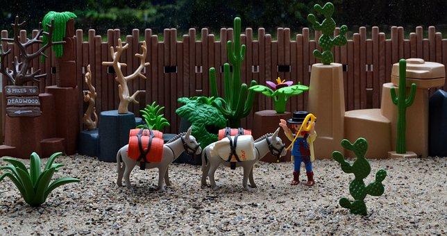 Playmobil, Western, Usa, America, Donkey, Mule