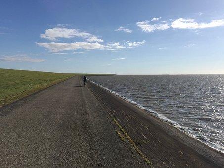 Wide, Sea, Ameland, Netherlands, West Friesland, Bike