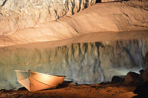 Woken Hole, Main Cave, Boat, Underground River