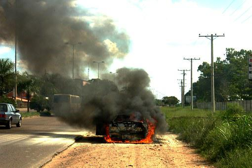 Fire, Automobile, Burned, Accident, Short Circuit, Auto