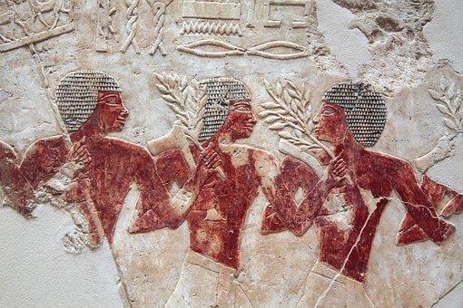Egyptian Art, Detail, Three Men, Men At Work
