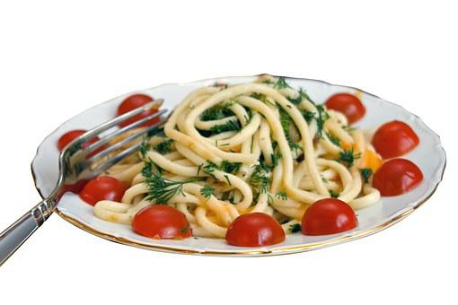 Spaghetti, Pasta, Plate, Food, Table, Dish, Colorful