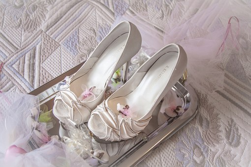 Marriage, Shoes, Heels, Bride, Fine, Whites, Woman, Leg