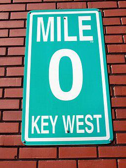 Mile Marker Zero, Sign, Key West, Florida, Background