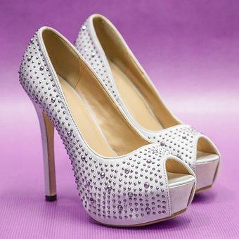 Small Change, Heels, Strass, White, Woman, Shoe
