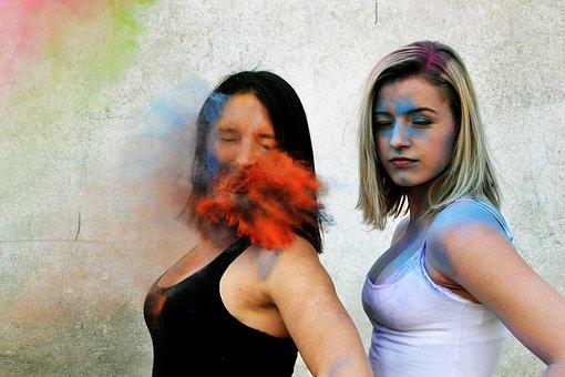 Two, Girls, Friends, Colors, Powder, Portraits, Impact