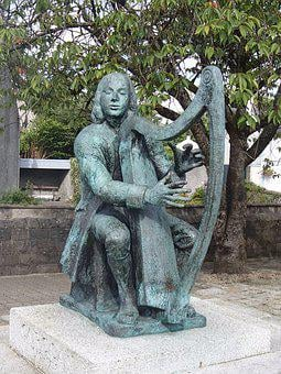 Harpist, Blind, Ireland, Irish, Folk, Musician, Statute
