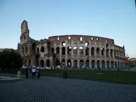 Coliseum, Dusk, Architecture, Roman, Rome, Italy