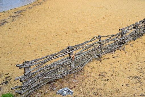 Sand, Palisade, Lake, Beach, Sandy Beach, Closing, Wood