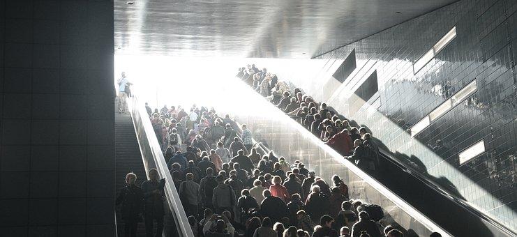 Crowd, Stairs, City, Live, Escalator, Backlighting
