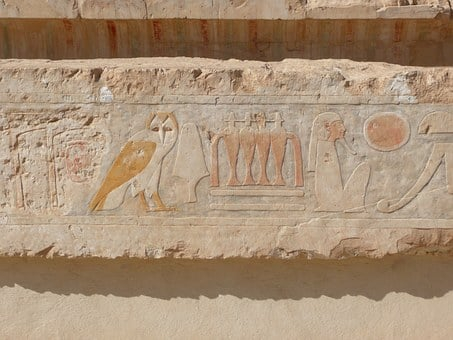 Hieroglyphics, Egypt, Relief, Temple, Owl