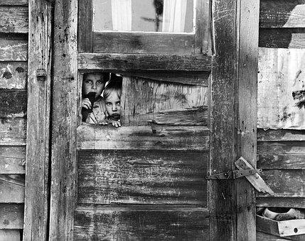 Vintage, Children, Wooden, Fence, Poor, Looking, Child