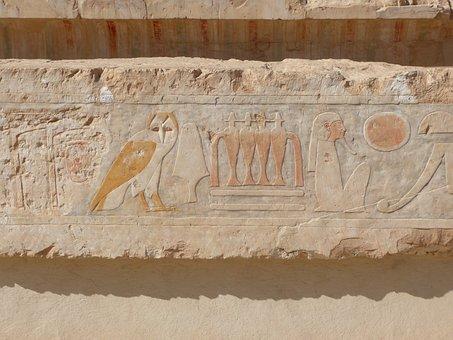 Hieroglyphics, Egypt, Relief, Temple, Owl