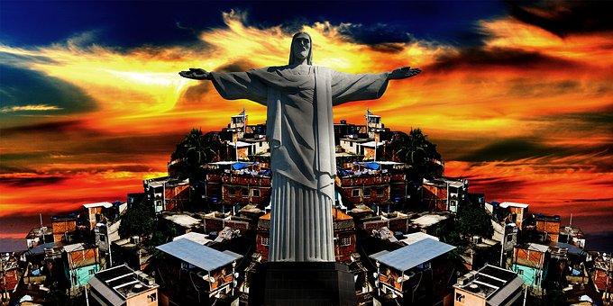 Rio De Janeiro, Christ, Favela, Hill, Carioca