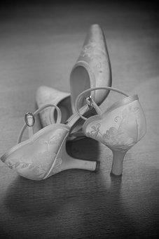 Wedding, Shoes, Dress, Veil, Black And White, Bride